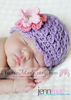0-3 months Shell Beanie with Flowers -lt grape, rose, pink, celery, Free US Shipping. via Etsy.