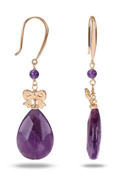 Amethyst Earrings In Purple with Bows.