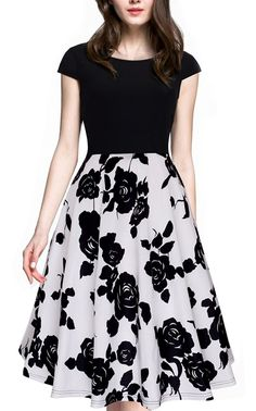 online shopping for HOMEYEE Women's Vintage Elegant Cap Sleeve Swing Party Dress from top store. See new offer for HOMEYEE Women's Vintage Elegant Cap Sleeve Swing Party Dress Casual Party Dresses, Elegant Dresses, Pretty Dresses, Dress Casual, Skirt Outfits, Dress Skirt, Swing Dress, Cocktail Bridesmaid Dresses, Vintage 1950s Dresses
