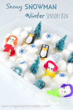 This soft snowy winter sensory bin is the perfect indoor play for preschool and little hands! Tutorials on how to make wine cork snowmen and wine cork penguins plus other winter decor ideas! Just add soft fluffy cotton balls and begin making your own snow Sensory Activities Toddlers, Baby Sensory, Sensory Bins, Craft Activities For Kids, Winter Activities, Sensory Play, Crafts For Kids, Sensory Table, Toddler Crafts