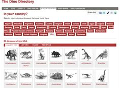 "The Natural History Museum hosts a directory of names, facts, and figures for more than 300 dinosaurs. One of the ways that you can search through the database is by country. Select the ""in your country"" option to find the dinosaurs that may have roamed the land in what is now your country. The search results will display a grid of drawings the types of dinosaurs in your country. Click on the images to learn more the dinosaurs."