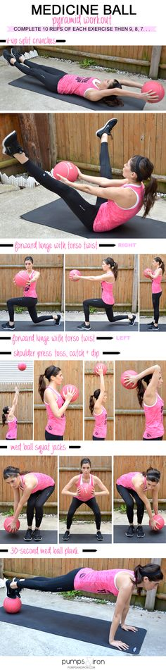 Try this hardcore Medicine Ball Pyramid Workout this weekend to develop toned, sexy abs you'll love this summer. Pin now, check later.