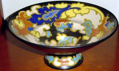 Gouda, Holland, Art Nouveau, Decorative Bowls, 1920s, Dutch, Blue, Vintage, Hand Painted Ceramics