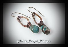 Artisan Hammered Copper Hubei Turquoise Drop Earrings by AztecaDesignsBoutique, $38.00 USD