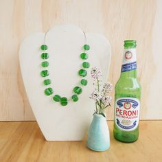 Glass Bead Necklace. Recycled Glass Beads made from a Peroni beer bottle