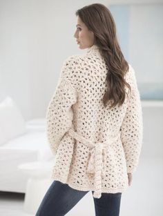Free Crochet Pattern 70004A Whiter Shade Of Pale Car Coat : Lion Brand Yarn Company