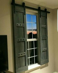 Good Interior Window Barn Shutters   Sliding Shutters   Barn Door Shutter  Hardware Packages Available   Farmhouse Style   Rustic Wood Shutter