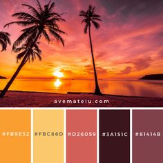 Color Palettes – Ave Mateiu A collection of splendid color schemes for you to find color inspiration all year round ? Beach Color Palettes, Flat Color Palette, Sunset Color Palette, Sunrise Colors, Colour Pallete, Colour Schemes, Colour Combinations, Sunset Beach, Couleur Hexadecimal