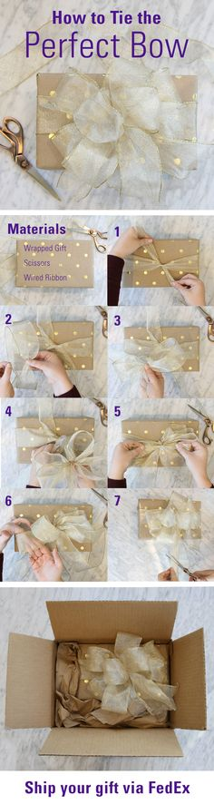 "Follow this step-by-step tutorial to learn how to tie the perfect holiday gift bow with ribbon!  Start with 2 pieces of ribbon. 1. Tie a knot around the box, leaving 8-10"" tails 2. Using second piece of ribbon, pinch the edges together, making a 8"" tail 3. Make 6 equal loops meeting in the center  4. Place looped ribbon on center of original tie 5. Secure bow to the box with a knot using the tails in #1 6. Expand & separate the loops 7. Fold tails in half; cut at 45° (wired edges to the…"