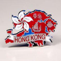Metal Fridge Magnet: Hong Kong. Map of Hong Kong (Chrome Plating and Enamel)