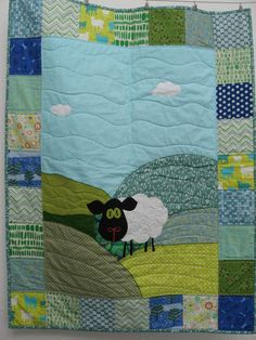 Sheep Quilt in blues & greens by pippabluebaby on Etsy, $126.00