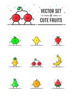 Vector set of cute fruits on Behance