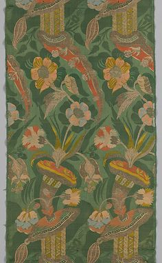 Silk damask brocaded with colored silks and metal threads, Italy, early 18th century. Collection Metropolitan Museum of Art.