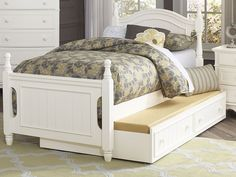 Homelegance B1799T 1 Cottage White Wood Kids Twin Platform Bed Trundle