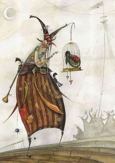 A nasty pirate witch holds a child in a cage in this childrens book illustration by Daniel Montero Galan « « Mayhem & Muse Children's Book Illustration, Illustration Children, Book Illustrations, Japanese Artists, Whimsical Art, Surreal Art, Childrens Books, Fantasy Art, Cool Art