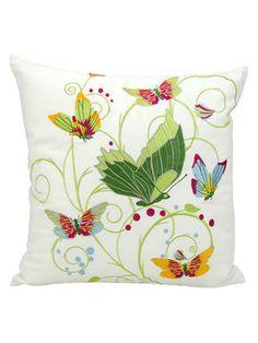 """Fantasy Butterflies Outdoor Pillow on Gilt 18 x 18"""""""