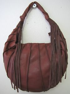 View Item: Lucky Brand Large Fringe Canteena Slouchy Hobo Bag Vintage Brown EUC