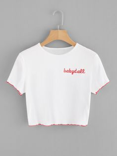 SHEIN offers Letter Embroidered Ribbed Crop Tee & more to fit your fashionable needs. Crop Top Outfits, Summer Outfits, Casual Outfits, Cute Outfits, Cropped Tops, Fashion News, Girl Fashion, Fashion Clothes, Fashion Outfits