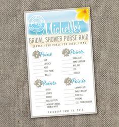 Beach Theme Bridal Shower. Bridal Shower Purse Raid Game. DIY