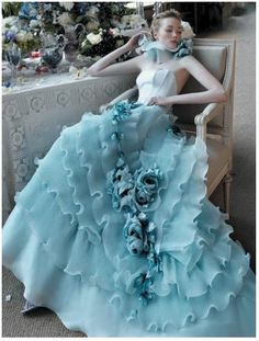 blue waterfall gown
