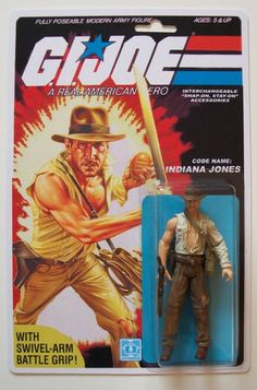 Custom carded Indiana Jones 3 3/4 GI Joe vintage style ARAH action figure MOC #MISC