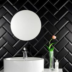 Black metro tiles part of a great choice of mini metro tiles and metro tiles at Direct Tile Warehouse. Metro tiles all at low trade prices Brick Tiles Bathroom, Metro Tiles Kitchen, Black Tile Bathrooms, Ceramic Wall Tiles, Tiling, Black Wall Tiles, Black Subway Tiles, Beveled Subway Tile, Toilet Design