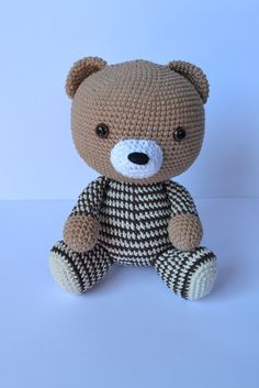 the cutest bear with pajamas you ever did see.... crochet pattern