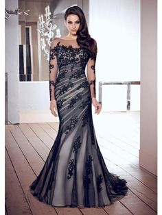 Tromba / Sirena Square Maniche Lunghe Embroidery Applique Tulle Evening Dress