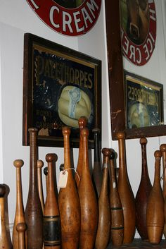 Collection of Indian [exercise] clubs.  (Not bowling pins.)