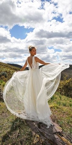 boho bridal gowns low back wedding dressses