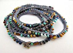 Crochet beaded bracelet wrap bracelet little by CoffyCrochet, $30.00