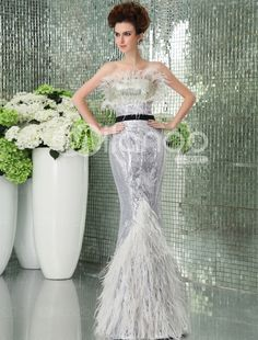 Silver Lace Strapless Mermaid Trumpet Ladies Evening Dress - Milanoo.com