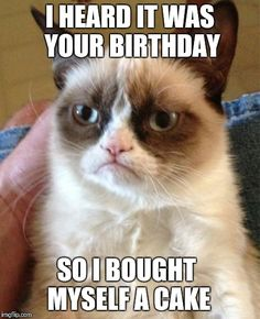 Happy Birthday? | I HEARD IT WAS YOUR BIRTHDAY SO I BOUGHT MYSELF A CAKE | image tagged in memes,grumpy cat,happy birthday | made w/ Imgflip meme maker