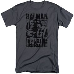 BATMAN/CAPED CRUSADER-S/S ADULT TALL-CHARCOAL