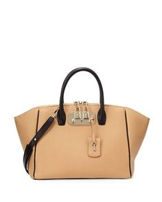 Brera+32+Two-Tone+Leather+Satchel+Bag,+Camel/Black+by+VBH+at+Neiman+Marcus.