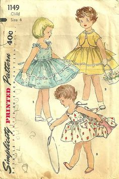 Vintage Simplicity pattern---I don't sew, but if I did, I would love to whip up a few of these beautiful vintage little girls' dresses.