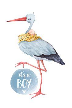 Baby Wall Art, Baby Art, Nursery Room, Nursery Decor, Baby Stork, Baby Drawing, Cute Art, Mini Albums, Art Drawings