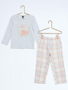 Lange flanellen pyjama 'vos' Kinderkleding meisjes - grijs 13,00€ voor Pyjama (set) lang- Ontdek onze klein geprijsde collecties op de afdeling {3}