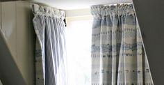 A customer case study near Bath demonstrates how dormer window curtains can make. A customer case Bay Window Curtain Poles, Wooden Curtain Poles, Wood Curtain, Window Curtains, Blue Curtains, Modern Curtains, Curtains With Blinds, Valances, Dormer Windows