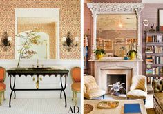 Orange traditional style chairs and a black marble sink enhances the wall sconces and floral wallpaper. On the right, a grand mirror with carved details is positioned above a marble fireplace.