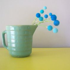 Turquoise blue bouquet  Blue Wool pom poms  by berryisland on Etsy