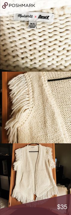 Madewell x daryl k® fringe vest limited-edition capsule collection that's all about rock 'n' roll vibes and Cali daydreams. Hand knit of supersoft Italian yarn, this chunky sweater-vest has a cool fringe detail inspired by one of Daryl's own vintage finds. True to size. Wool/poly/alpaca. Madewell Sweaters Shrugs & Ponchos