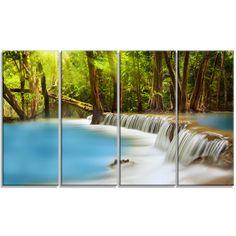 Designart - Huai Mae Kamin Waterfall - 4 Panels Photography Art Print