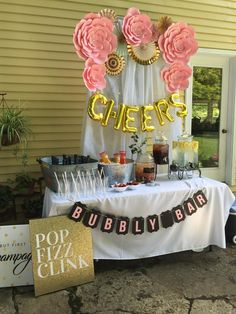 Lee's Bridal Shower: Pink and gold mimosa bar with DIY paper flowers and bubbly bar banner! (scheduled via http://www.tailwindapp.com?utm_source=pinterest&utm_medium=twpin&utm_content=post146967435&utm_campaign=scheduler_attribution)