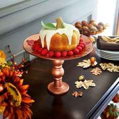 Display treats or festive icons on a DIY copper coated Metallic Glass Plate Pedestal
