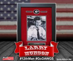 Autographed and Framed Larry Munson 8x10 Photo with brass nameplate with some of his greatest calls.  A must for every Bulldog!  Will hand proudly in any office, fan room, man cave or DAWGS House!  #the12thMan #GoDAWGS #GeorgiaBulldogs #ManCaveDecor #LarryMunson