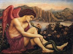 Evelyn de Morgan, The Angel with the serpent, 1870-1875