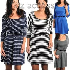 "Plus size Skater dress belted NEW stripe 🌟Three patterns to choose from⭐️classic stripe or solid dress Gorgeous sexy belted stretchy dress. Medium weight. A-line style. 3/4 sleeve. Round neck. Black skinny/thin belt . Versatile use them as formal/office wear /causal wear. Total length=36-38""sleeve length=16-18"" DEPENDS ON SIZE boutique Dresses"