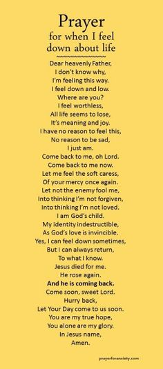 Numerology Spirituality - Heres a prayer for when you are feeling down for no reason at all. Get your personalized numerology reading Prayer Times, Prayer Scriptures, Bible Prayers, Faith Prayer, God Prayer, Power Of Prayer, Prayer Quotes, Bible Quotes, Faith Bible