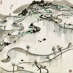 View Paddy Fields by Wu Guanzhong on artnet. Browse upcoming and past auction lots by Wu Guanzhong. Ink Painting, Watercolor Art, Wu Guanzhong, Chinese Architecture, China Art, Abstract Drawings, Chinese Painting, Traditional Art, Japanese Art